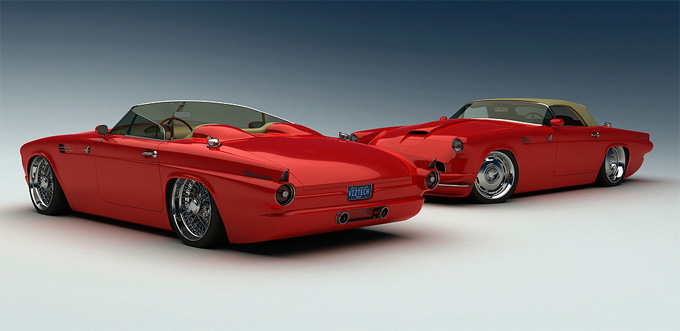 Bo-Zoland-1955-Ford-Thunderbird-Concept-Red