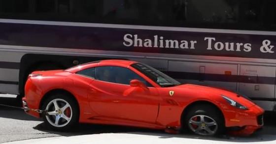 Ferrari California crashes into Tour Bus